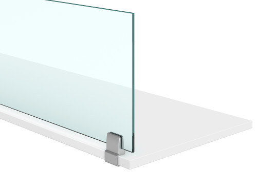 AIS Glass Worksurface Privacy Screens with C-Clamp Under Surface Mounts