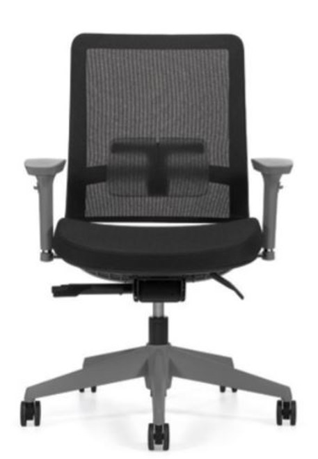 Factor 5541 Mid Mesh Back with Weight Sensing Synchro-Tilter and Seat Slider with Black Mesh and seat fabric, Shadow frame