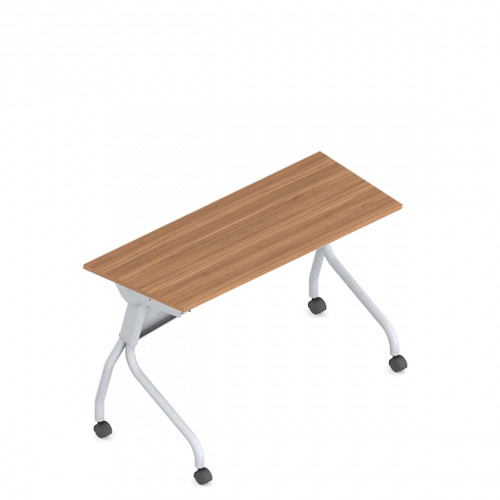 "OTG 48"" Flip Top Training Table, Tungsten Frame with Autumn Walnut Laminate"