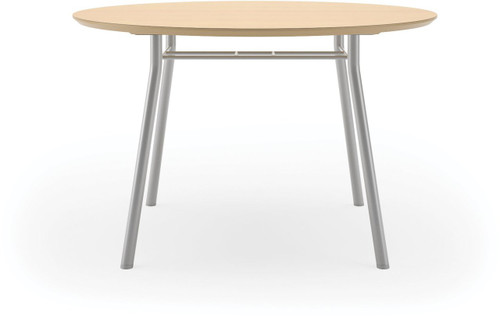 "Lesro 36"" Round High Pressure Laminate Conference Table in Natural High Pressure Laminate and silver legs"