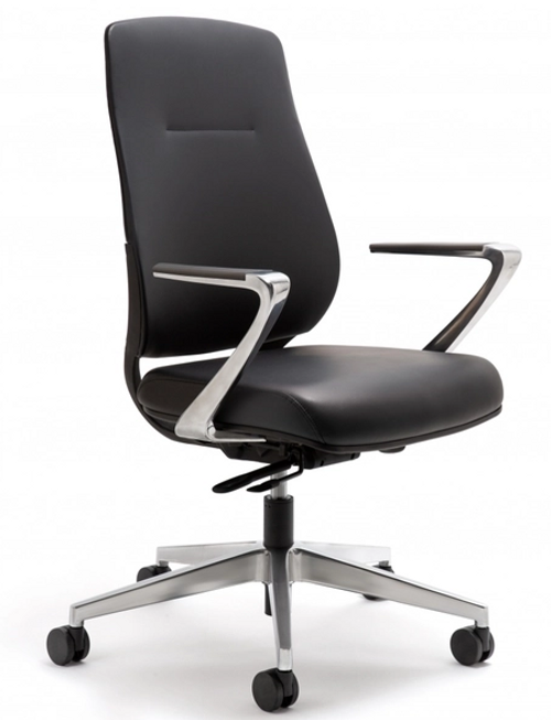 Auburn Conference Chair Quickship, Black Vinyl