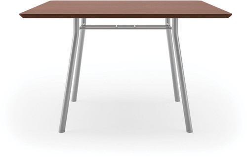 "Lesro 48"" Square High Pressure Laminate Conference Table in Mahogany High Pressured Laminate finish and silver legs"