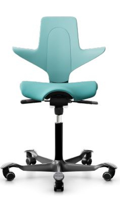 HAG Capisco Puls Saddle Chair with Upholstered Seat, Sea Green Shell and Black Base