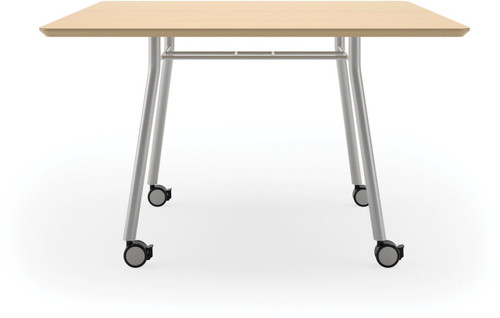 "Lesro 36"" Square High Pressure Laminate Conference Table with Casters in Natural high pressure laminate finish and silver legs"