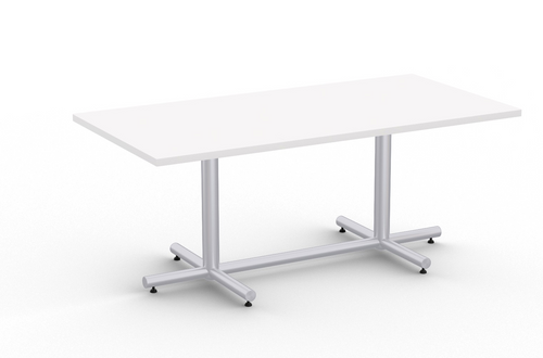 Connect 6' Rectangular Conference Table, Designer White with Silver Base