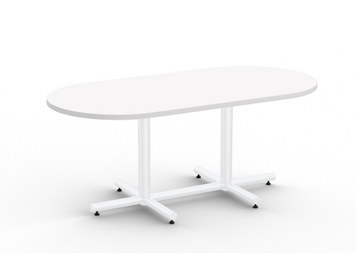 "Connect Racetrack Conference Table, 72"" Designer White Top and Glossy White Base"