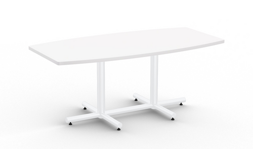 Connect 6' Boat Shaped Conference Table, Designer White with Glossy White Base