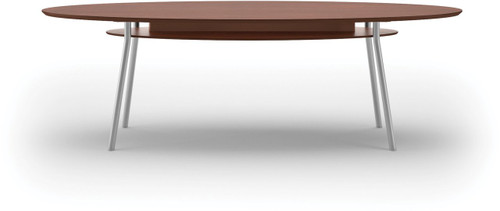 "Lesro 96"" Elliptical High Pressure Laminate Conference Table in Mahogany High Pressure Laminate Top, under table shelf and silver legs"