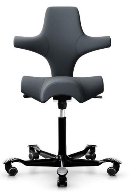 HAG Capisco H8106 Saddle Seat with Dark Grey Gabriel Fabric and black base Quickship
