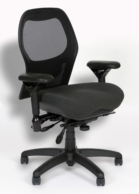 Actual chair has a Hue Night fabric seat and Black mesh back