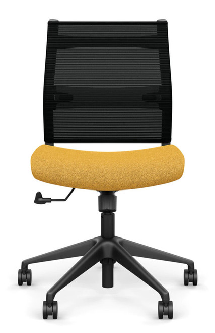 SitOnIt Wit Mid Back Armless Task Chair - Work From Home Series, Gold Dusk seat fabric and Onyx Stripe mesh