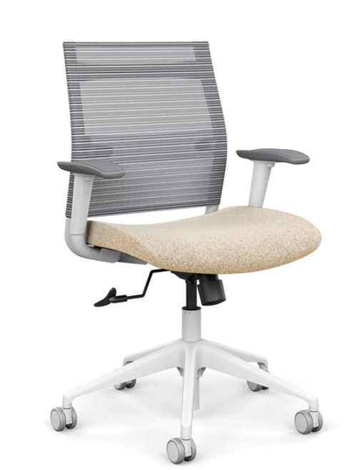 SitOnIt Wit Mid Back Mesh Task Chair - Work From Home Series, Sandstorm seat, Fog mesh back, white frame and height adjustable arms