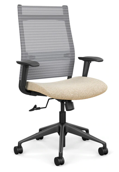 SitOnIt Wit High Back Mesh Task Chair - Work From Home Series, Sandstorm seat, Fog mesh and black frame