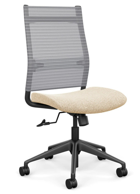 SitOnIt Wit High Back Armless Mesh Task Chair - Work From Home, Sandstorm seat, Fog mesh and black frame