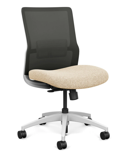SitOnIt Novo Mid Back Armless Mesh Task Chair - Work From Home Series, Sandstorm seat, Nickel mesh, White frame