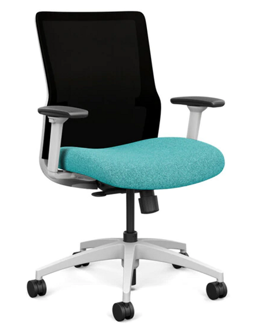 SitOnIt Novo Mid Back Mesh Task Chair - Work From Home Series, Mainstream seat, Black mesh, White frame
