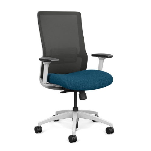 SitOnIt Novo High Back Mesh Task Chair - Work From Home Series, Deep Sea seat, Nickel mesh and White frame