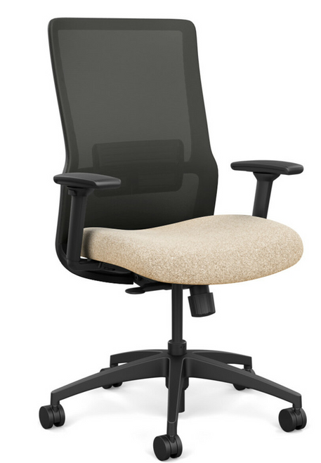 SitOnIt Novo High Back Mesh Task Chair - Work From Home Series, Sandstorm seat, Nickel mesh and Black frame