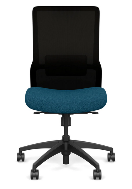 SitOnIt Novo High Back Armless Mesh Task Chair - Work From Home Series, Deep Sea seat, Black mesh and Black frame