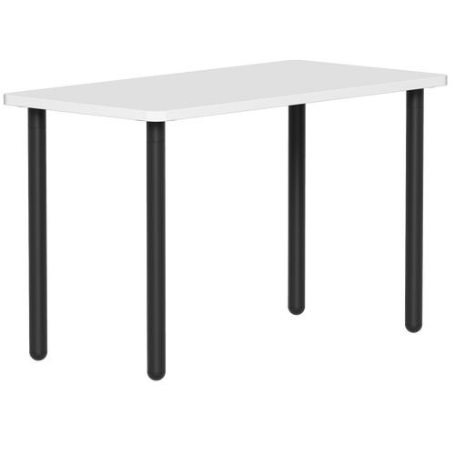 SitOnIt Reya Desk with Straight Metal Legs - Work From Home Series , White top and Black legs