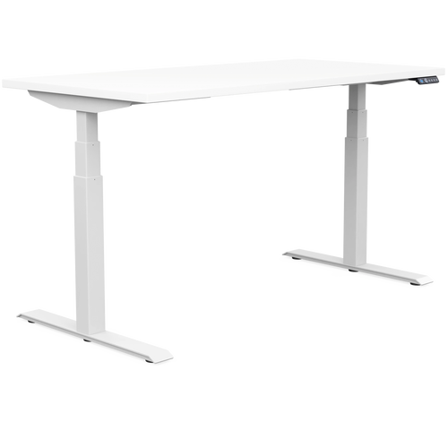 SitOnIt Switchback Height Adjustable Desk- Work From Home Series, white top and white base