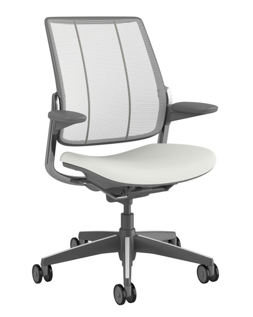 Humanscale Diffrient Smart Chair Pinstripe, White back, Lotus White seat and Dark Gray Frame with Polished Aluminum trim