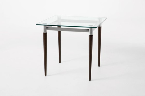 Siena Glass Top End Table with Mahogany Wooden Finish Legs