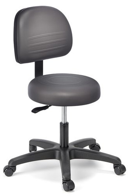 Cramer Fusion Med Tech Round Lab Stool, Desk Height with Graphite R+ Polyurethane
