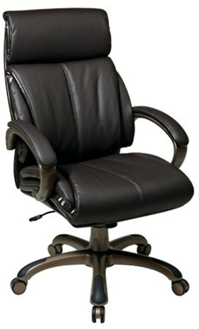 Leather Executive Chair with Fixed Padded Arms in Espresso Eco Leather and Cocoa Finished Base