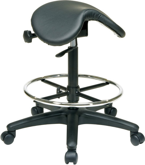 Vinyl Saddle Seat Backless Stool with Adjustable Foot Ring