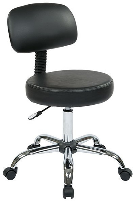 Vinyl Seat and Back Stool with Chrome Finish