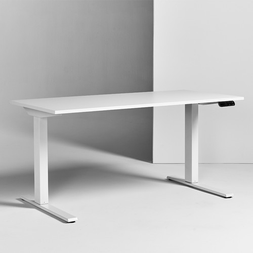 e Float GO Sit-Stand Adjustable Height Table, white laminate top and base