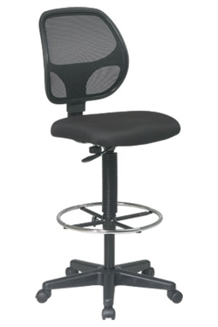 Deluxe Mesh Back Drafting Stool with Chrome Footring in Black Fabric