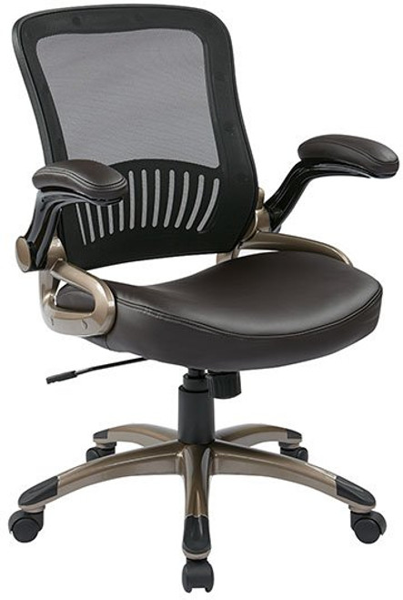 Screen Back Managers Chair with Flip Arms in Espresso Eco Leather and Cocoa Finished Base