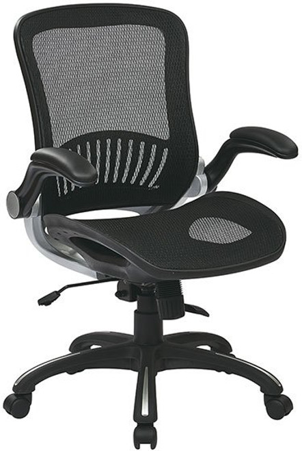 Screen Mesh Seat and Back Managers Chair with Flip Arms