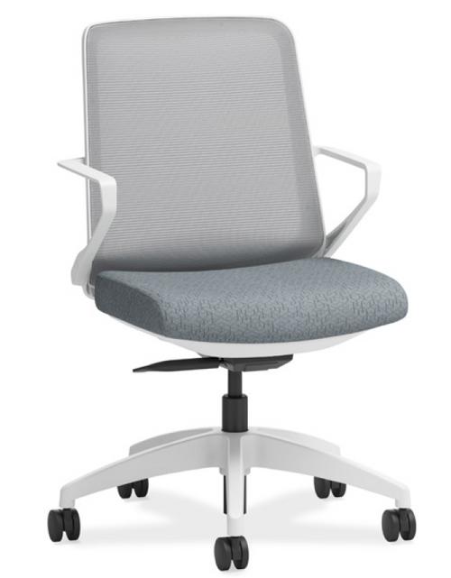 Cliq Light Tasker, Fog mesh and Apex Basalt fabric seat, white frame