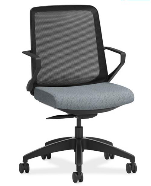 Cliq Light Tasker, black mesh back, Apex Basalt seat fabric, black frame