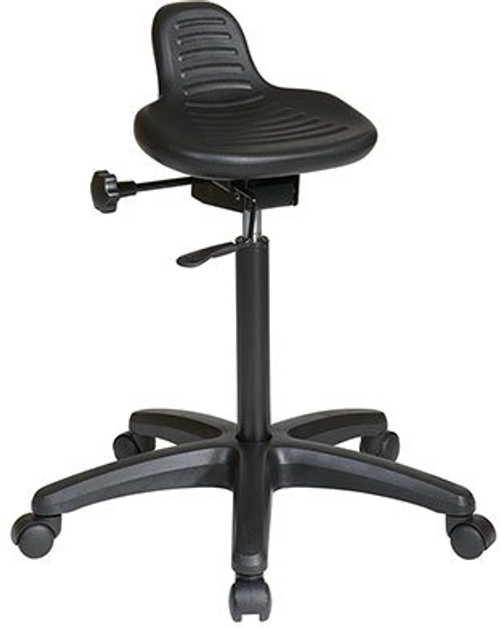 Self-Skinned Urethane Saddle Seat Stool with Seat Angle Adjustment