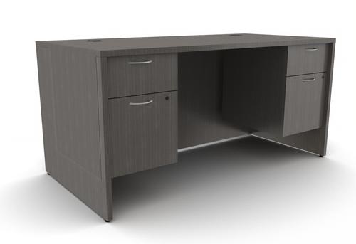 Mod Laminate Desk with 2 Hanging B/F Pedestals