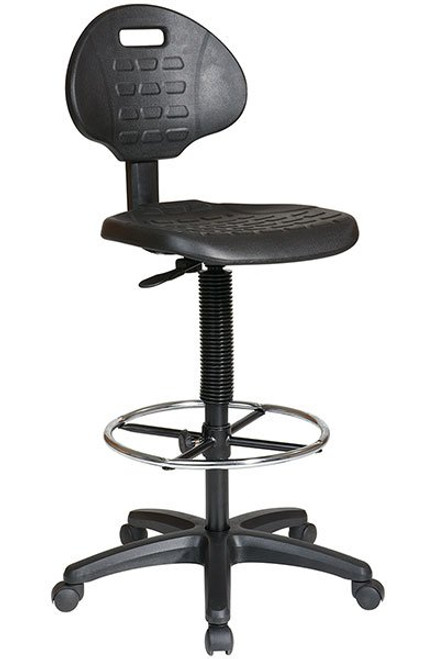 Self-Skinned Urethane Seat and Back Drafting Stool with Optional Arms