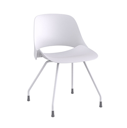 Trea Quick Ship Side Chair in white with glides