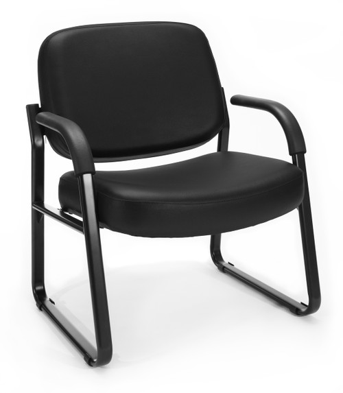 OFM Big & Tall Guest Arm Reception Chair in Black Vinyl 606