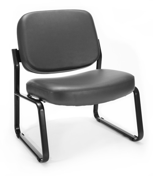 OFM Big & Tall Armless Guest Reception Chair in Charcoal Vinyl 604