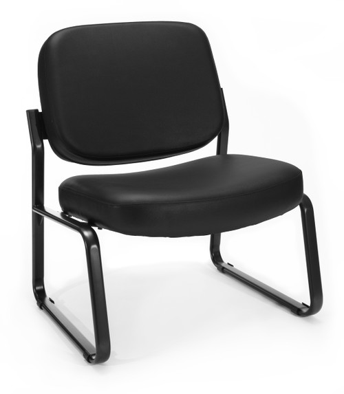 OFM Big & Tall Armless Guest Reception Chair in Black Vinyl 606