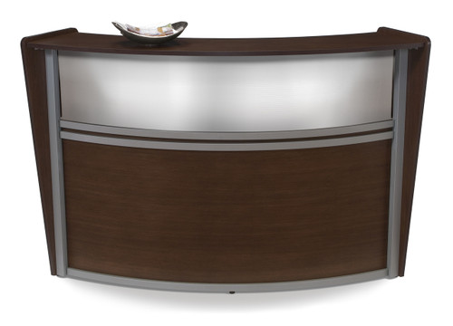 Marque Plexi Single Unit Reception Station in Walnut Approach Side