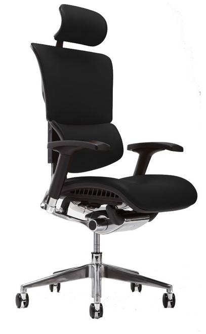 X4 Leather Executive Task Chair with Headrest, Top Grain Black Leather