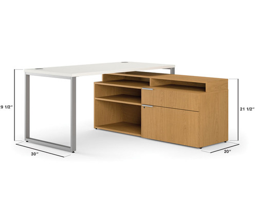 Hon Voi Small Footprint L-Station Open Credenza Right Hand Storage Option