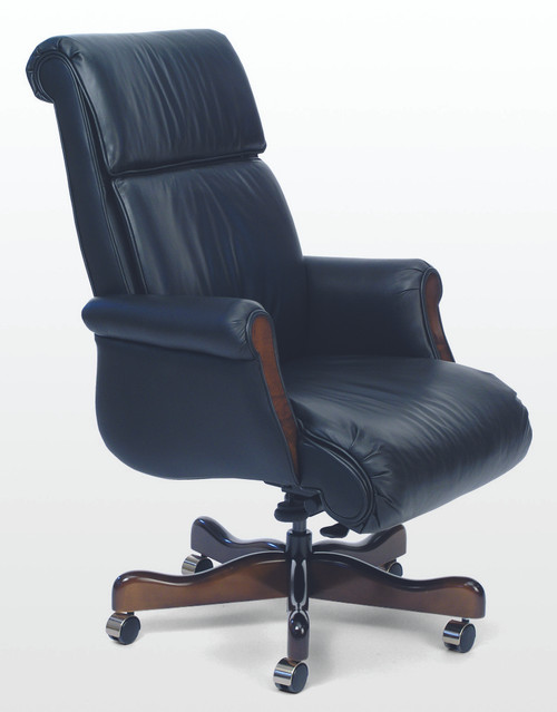 Belmont Traditional Leather Swivel with Wood Accents in Classico Leather, Bright Navy