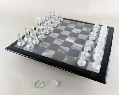Glass Chess & Checker Set