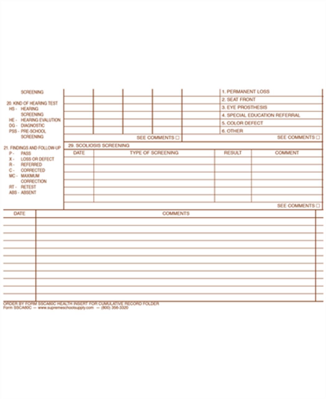 Health Record Insert (SSCA60C)